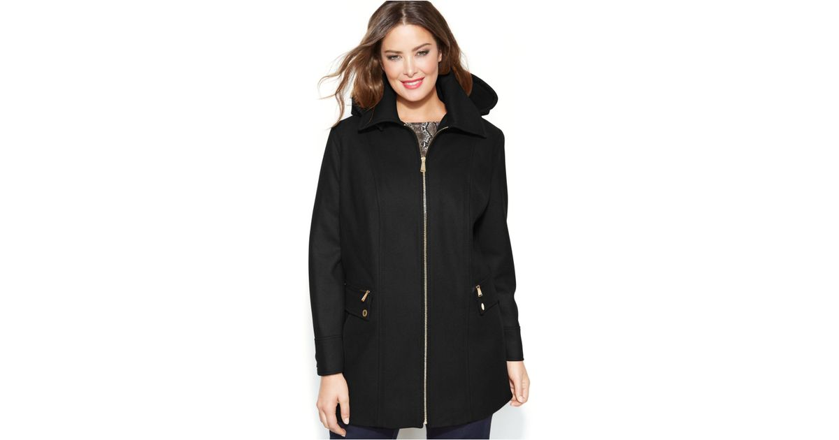 19cf0f73b8eff Lyst - Michael Kors Michael Plus Size Wool-Blend Hooded Coat in Black
