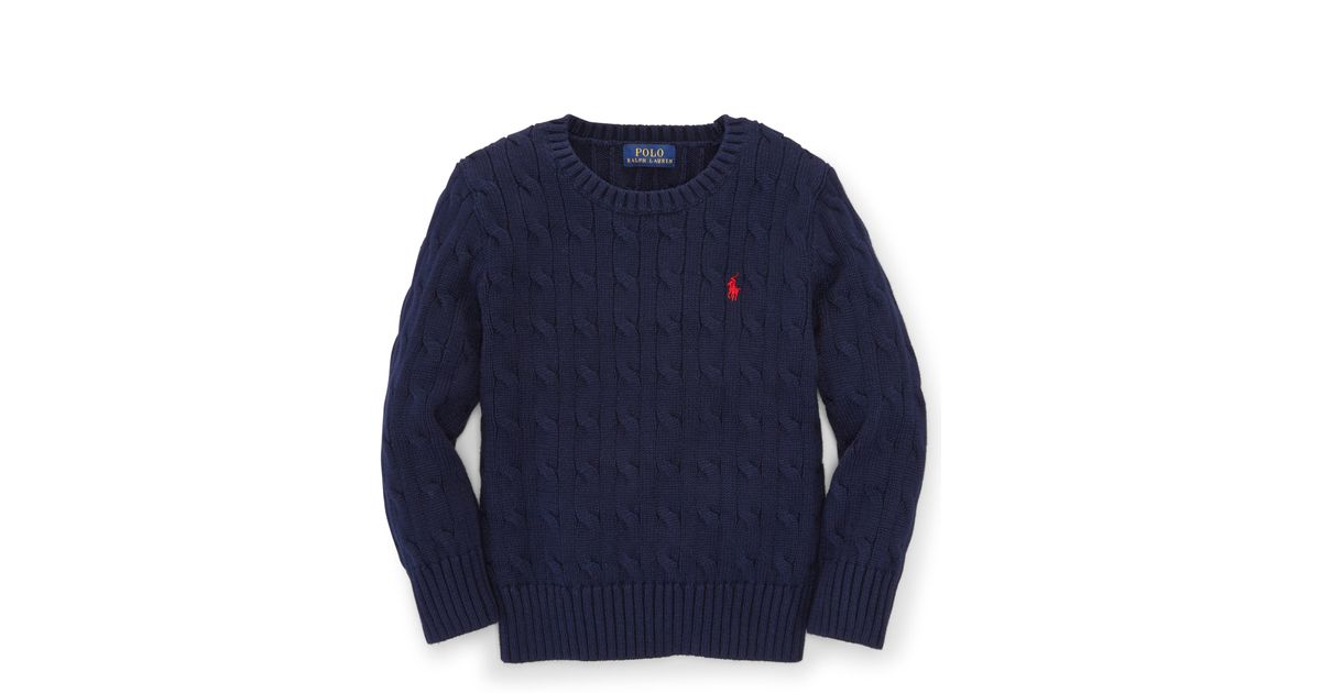73ee4b168 Ralph Lauren Cable-knit Cotton Sweater in Blue for Men - Lyst