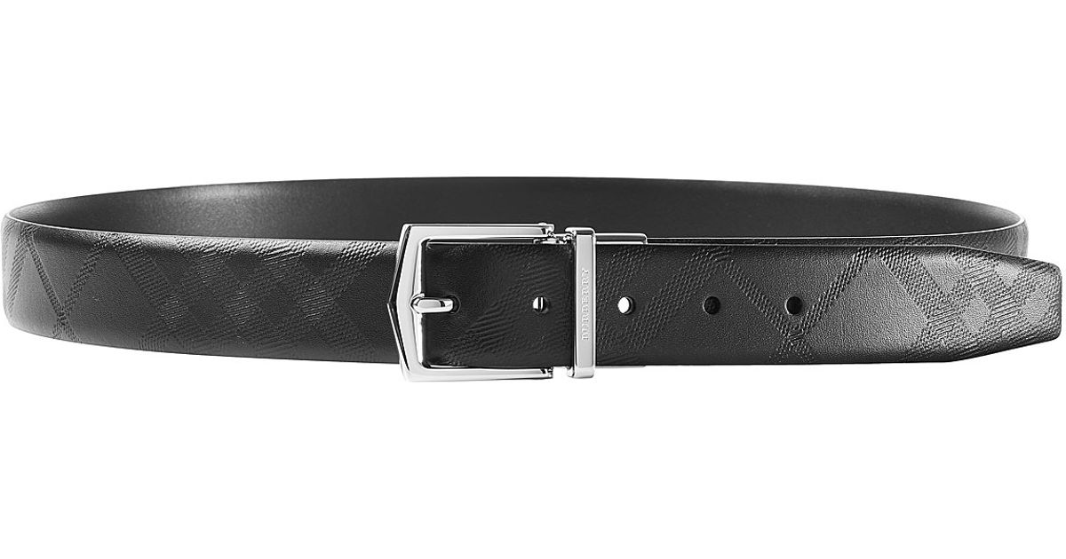 burberry leather belt with embossed pattern black in