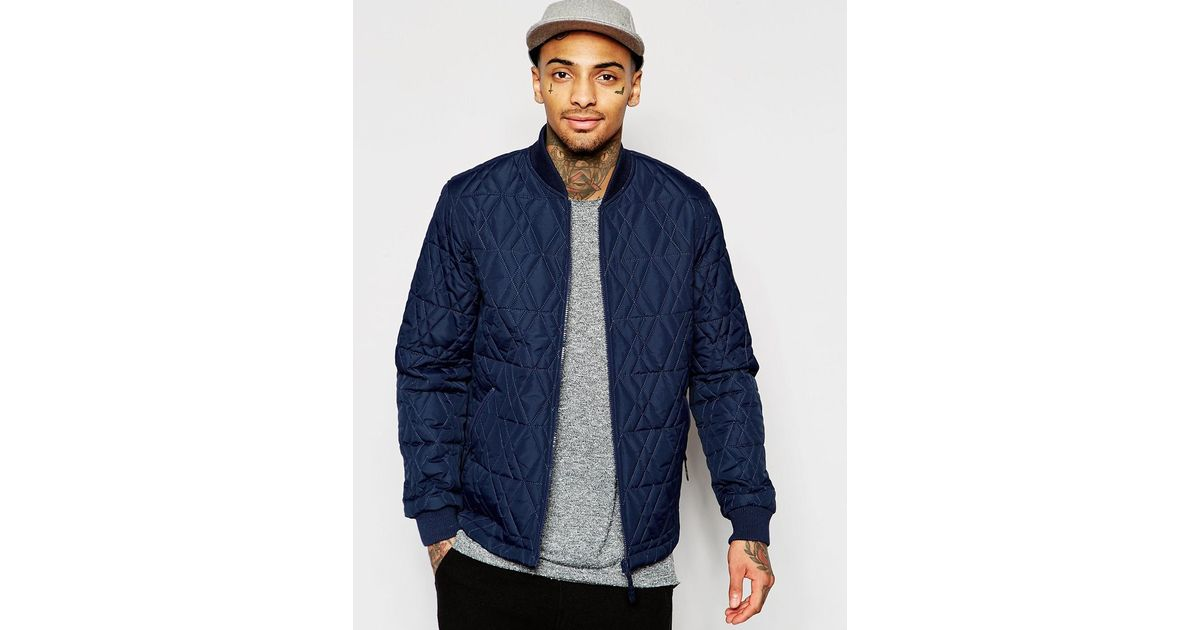 Lyst Asos Bomber Jacket With Diamond Quilt In Navy In Blue For Men