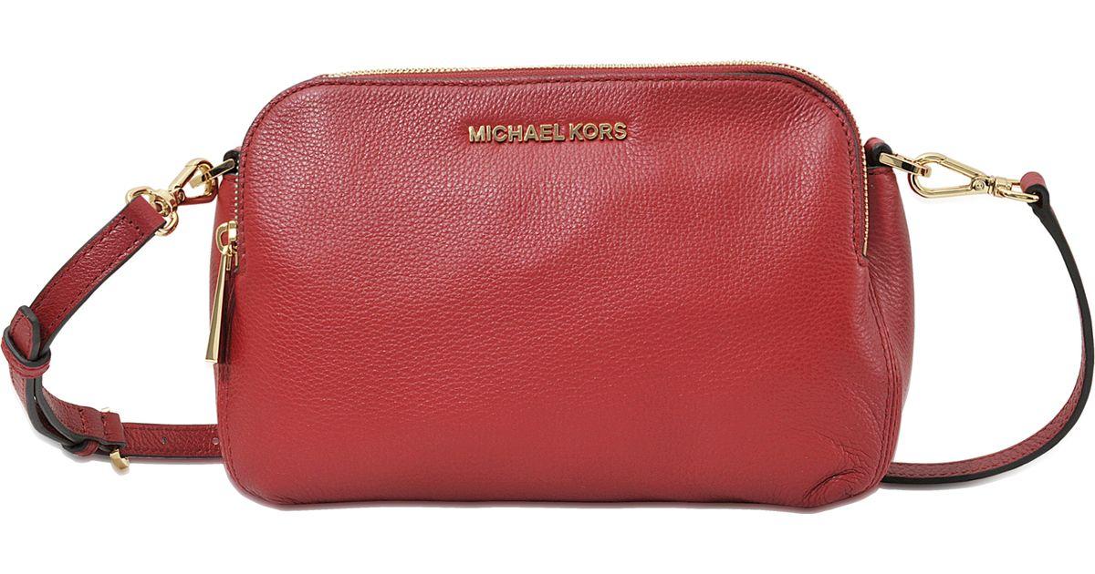 Lyst - MICHAEL Michael Kors Bedford Medium Double Zip Messenger in Red 70578e1dac342