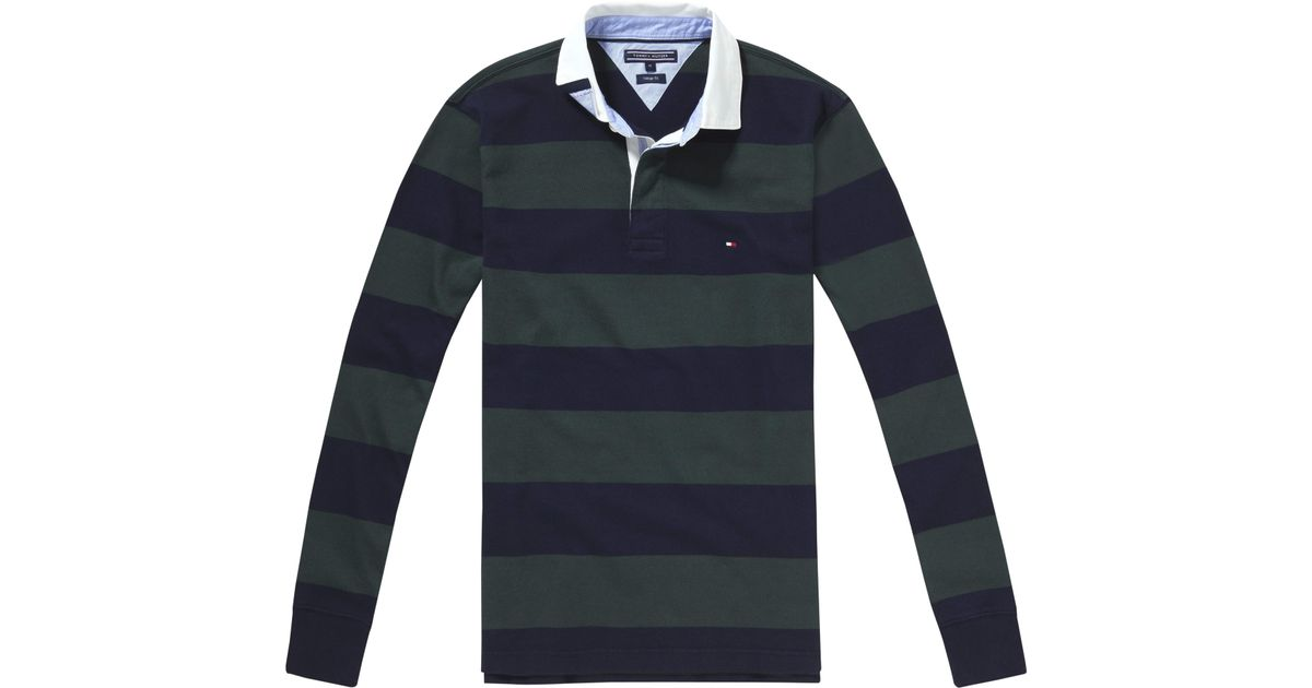 a1df02a75f1 Tommy Hilfiger Basic Block Stripe Rugby Jersey in Black for Men - Lyst