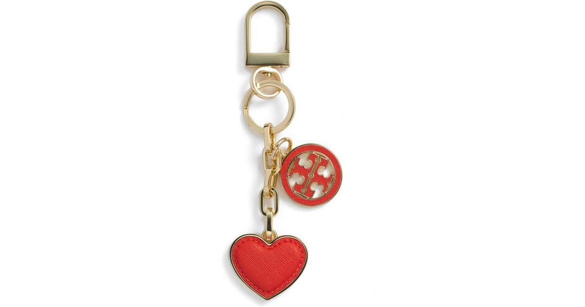 2ec601bea29 Lyst - Tory Burch Logo Heart Bag Charm in Red