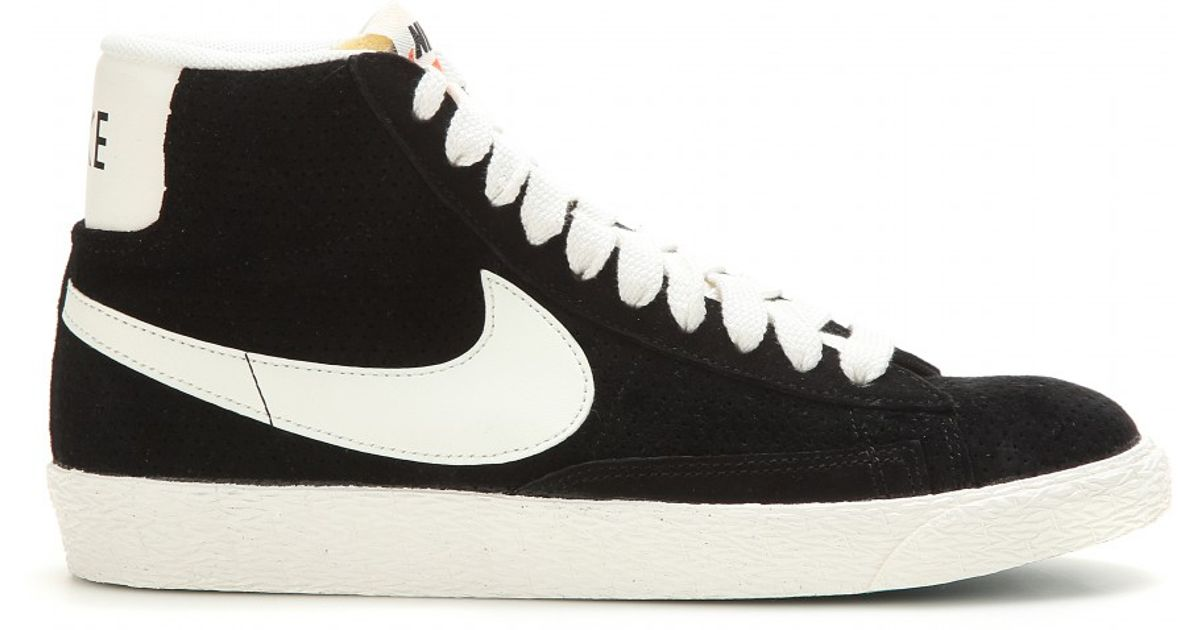 Nike Blazer Mid Vintage Suede High-top Sneakers in Black - Lyst