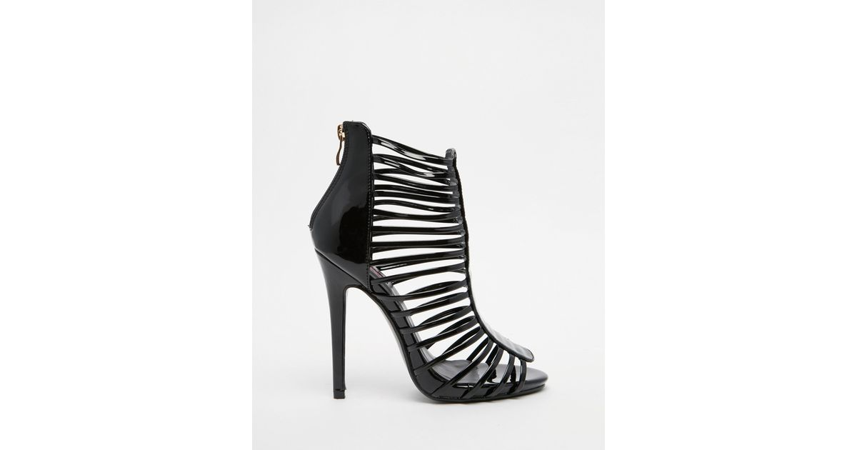 572ce035590 Lyst - Daisy Street Caged Gladiator Black Heeled Sandals in Black