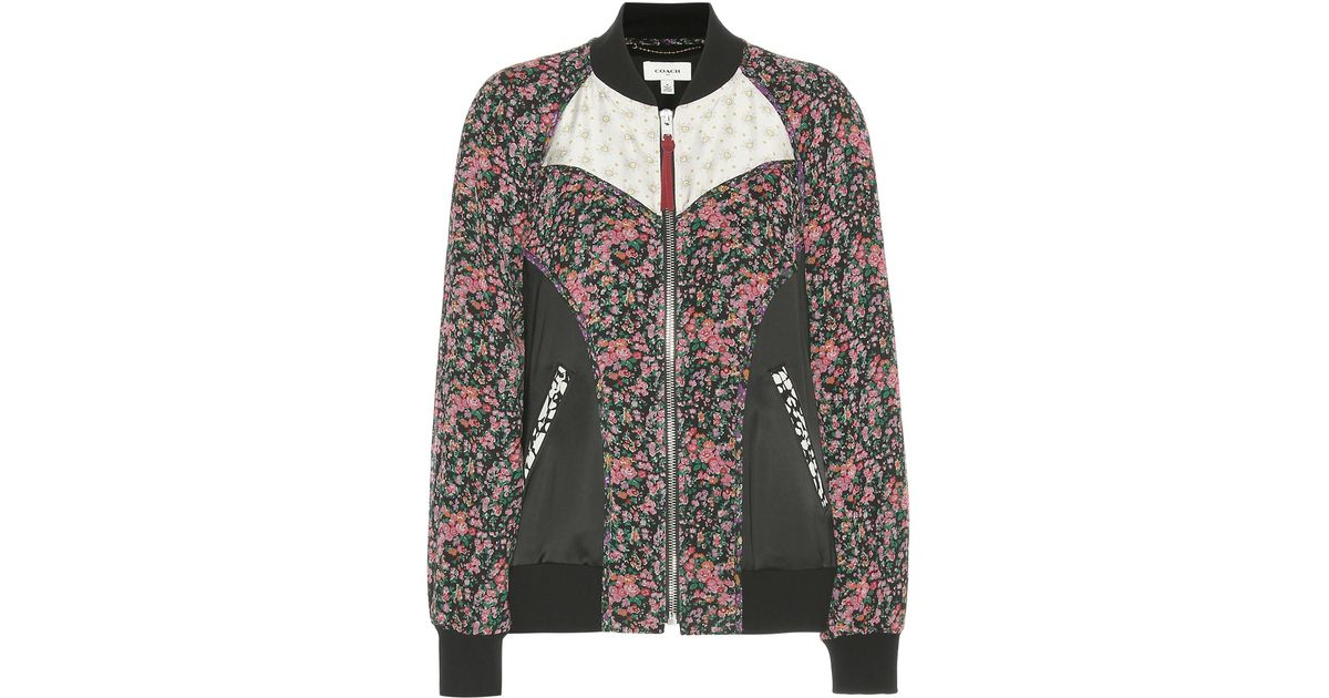 Coach Printed Silk Bomber Jacket in Black | Lyst