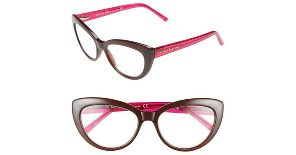 a8c2e0dfbc9 Lyst - Kate Spade  kalena  53mm Cat Eye Reading Glasses - Transparent Brown