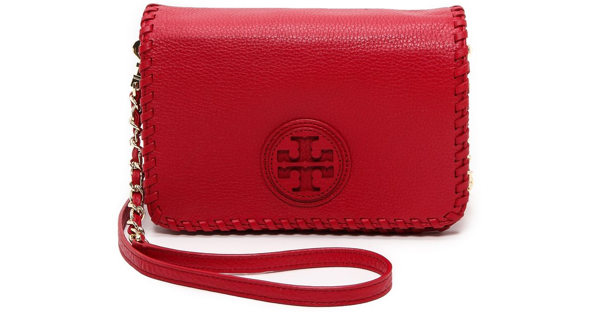 ee89b970b46 Lyst - Tory Burch Marion Combo Cross Body Bag Red in Red