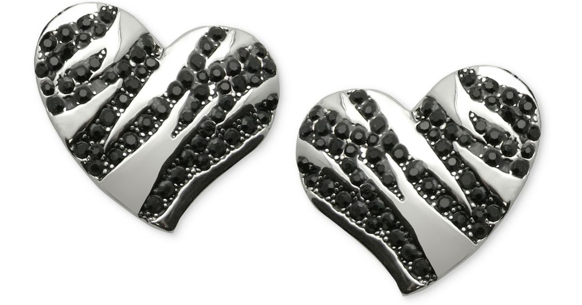 Silverblack silver tone black stone striped heart stud earrings silver