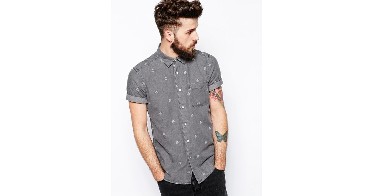 aa461a5a3a0 Lyst - ASOS Denim Shirt In Short Sleeve With Geo Print in Gray for Men