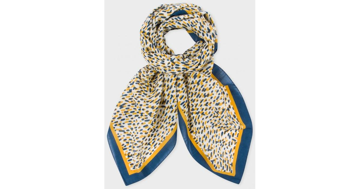 0fbfc9af1eae Paul Smith Women's Navy And Mustard Spot Print Silk-cashmere Square Scarf -  Lyst