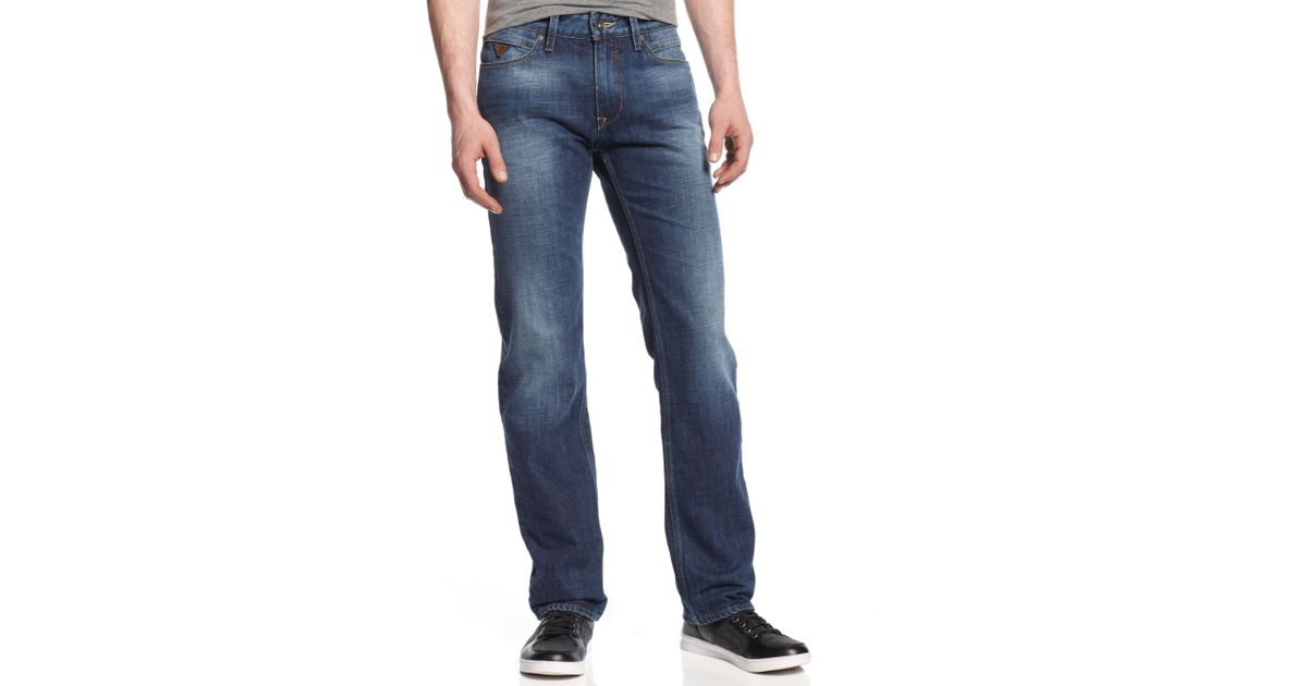 Wash Leg Fitstraight Jeans Blue In Slim Lincoln Guess Lyst Trample wfPqBYq6
