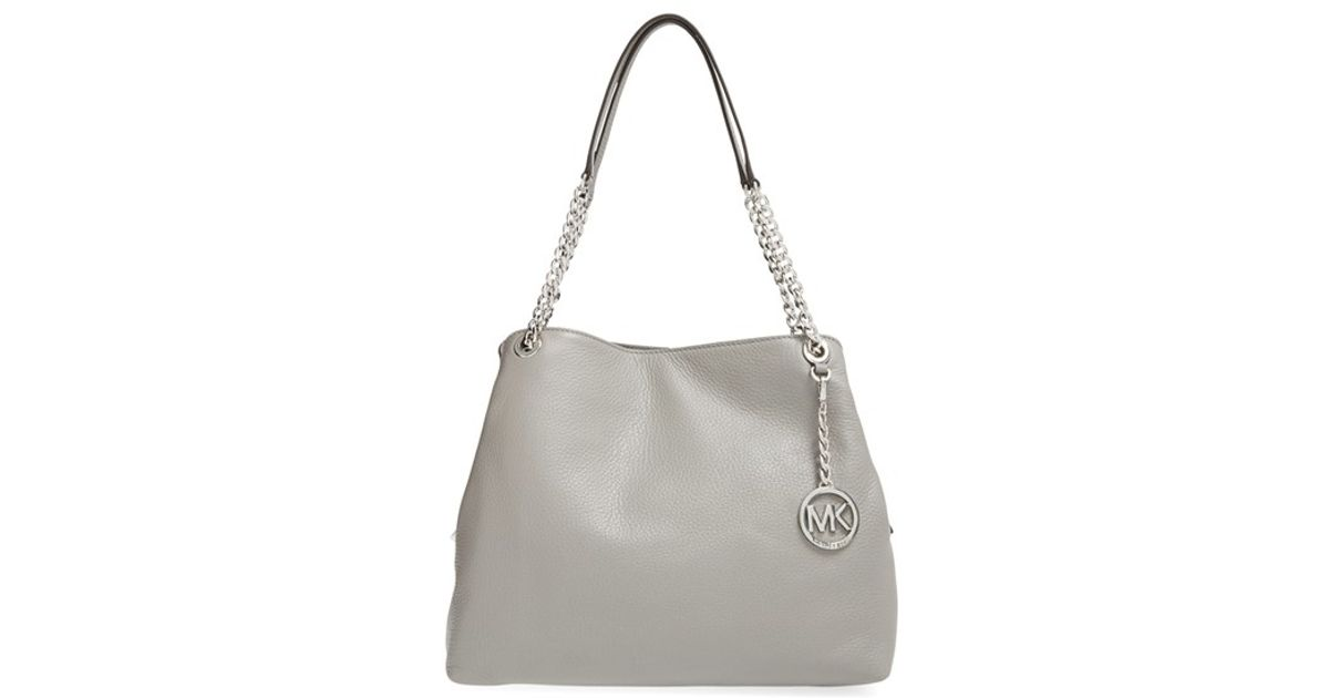 Lyst - MICHAEL Michael Kors  large Jet Set  Chain Shoulder Bag in Gray 9862232eed302