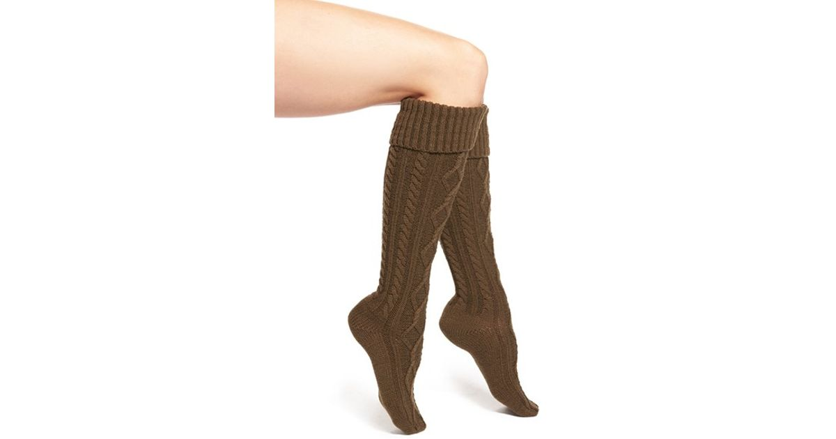 527d47a79b7 Free People Cable Knit Knee High Socks in Green - Lyst