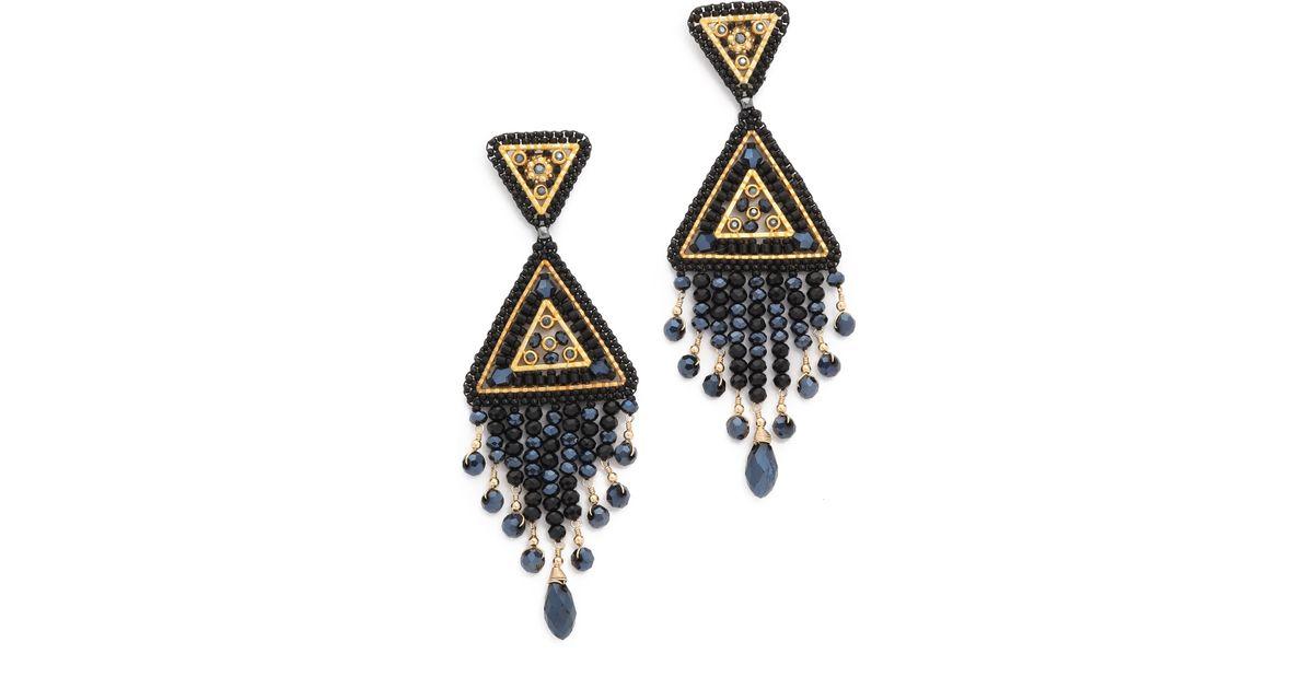 Lyst miguel ases swarovski chandelier earrings in metallic aloadofball Image collections