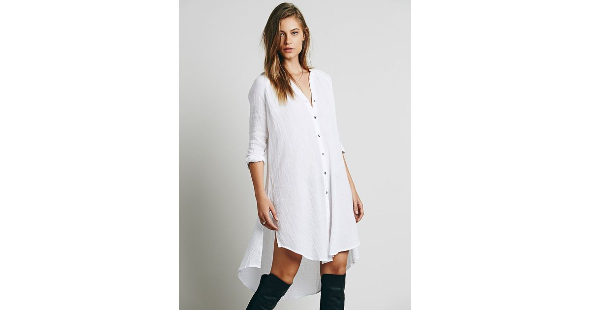 9db71c59 Free People Washed Buttondown Tunic in White - Lyst