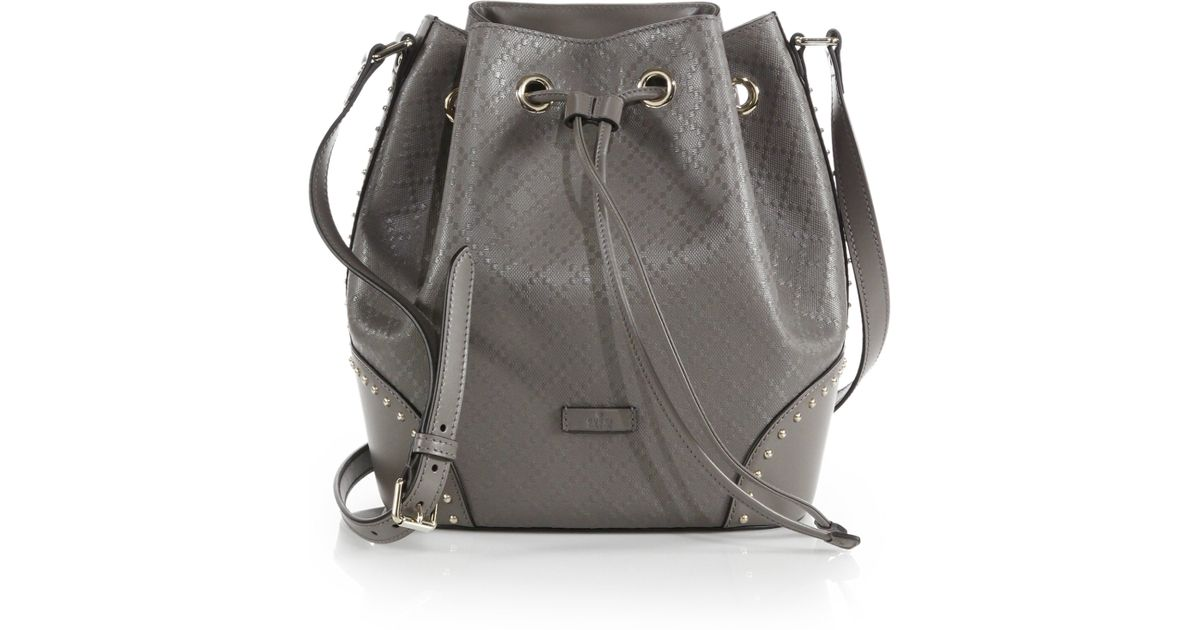 caac2ebd6aa474 Gucci Bright Diamante Leather Bucket Bag in Natural - Lyst
