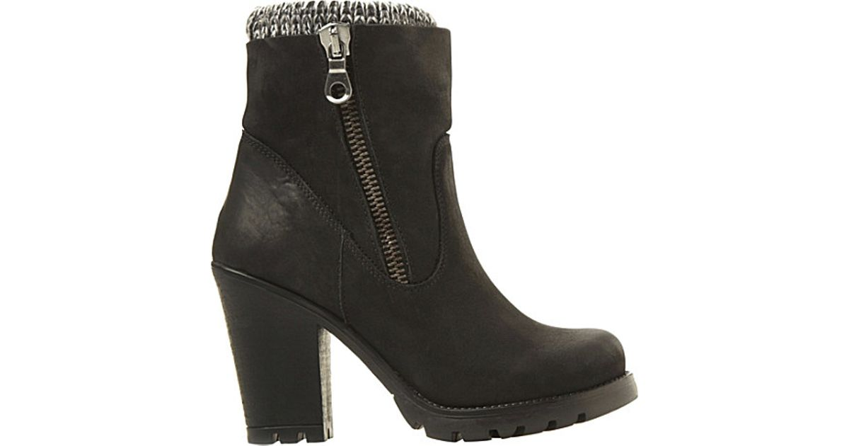 steve madden knitted detail high heel boots in black