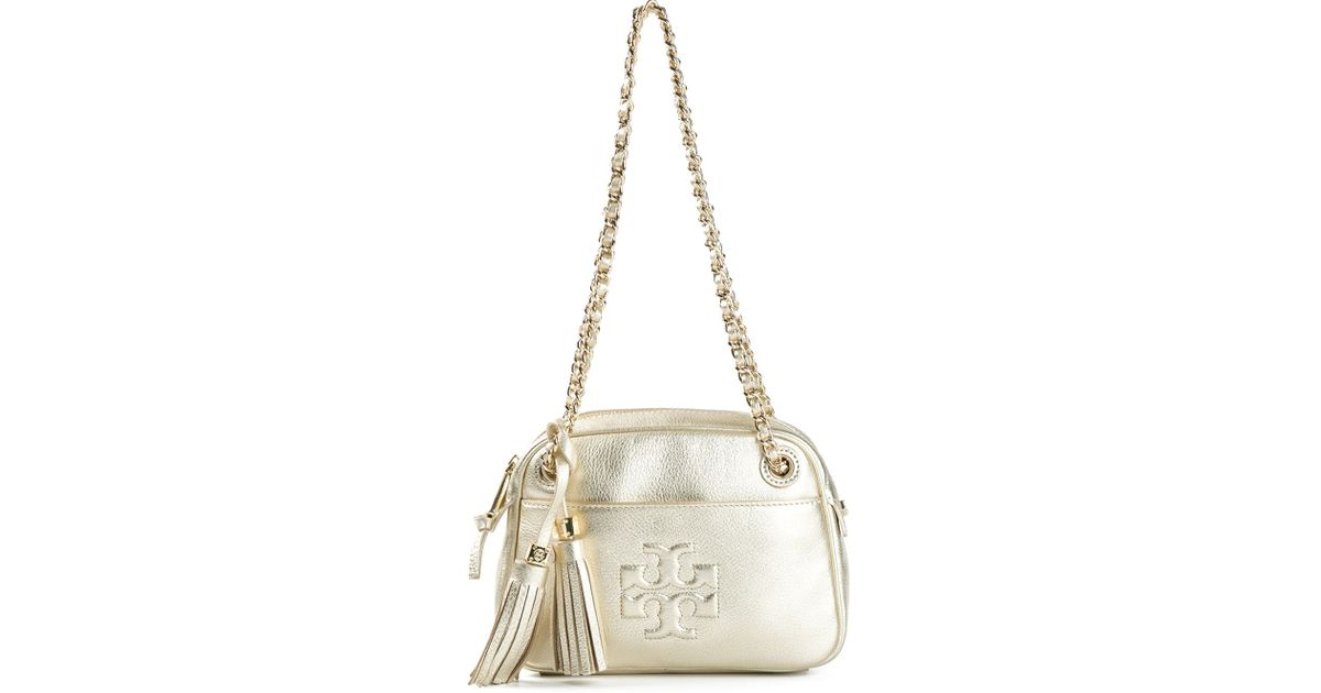 c4d340a6753 Lyst - Tory Burch Thea Shoulder Bag in Metallic