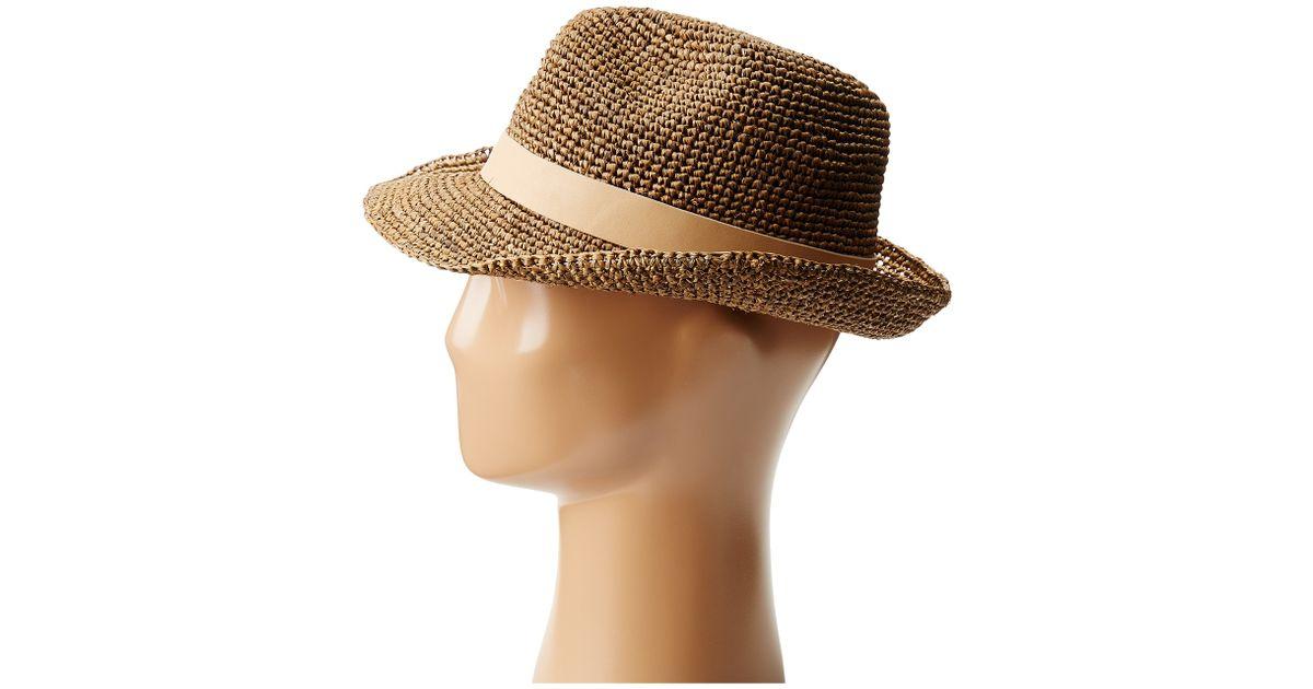 8a6e71e6a03 Lyst - Hat Attack Raffia Crochet Classic Fedora W Leather X Band Trim in  Brown