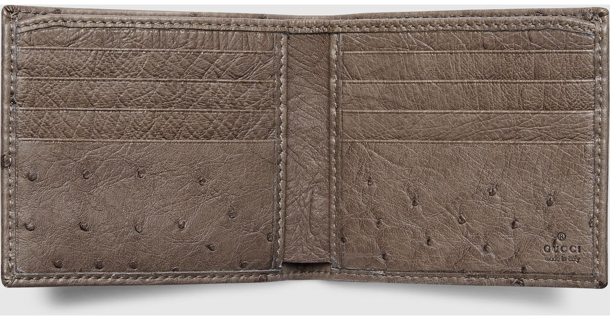 6408413a74ff Lyst - Gucci Ostrich Bi-fold Wallet in Brown for Men