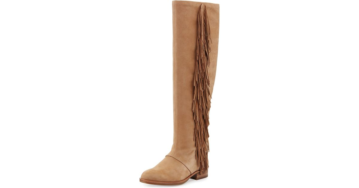 827f1109a016c Sam Edelman - Natural Josephine Fringed Knee-High Boots - Lyst