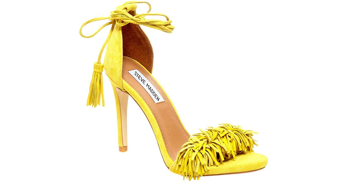 a0f1f453e2c Steve Madden Sassey Fringe Sandals in Yellow - Lyst