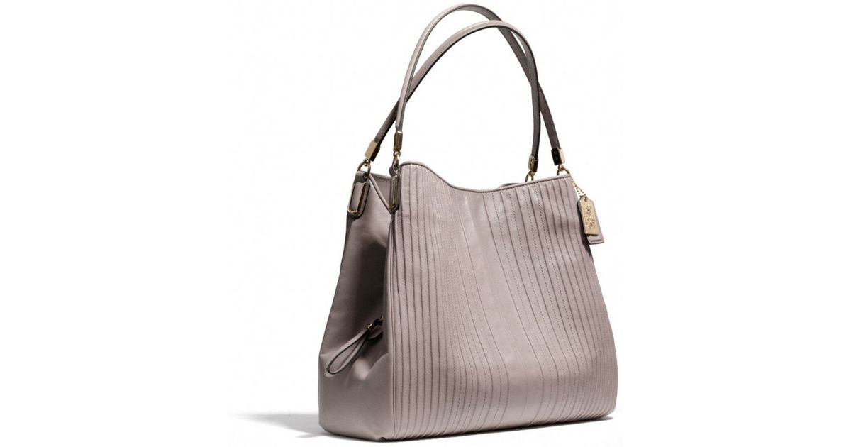 5c256cdc1 COACH Madison Small Phoebe Shoulder Bag in Pintuck Leather in Natural - Lyst