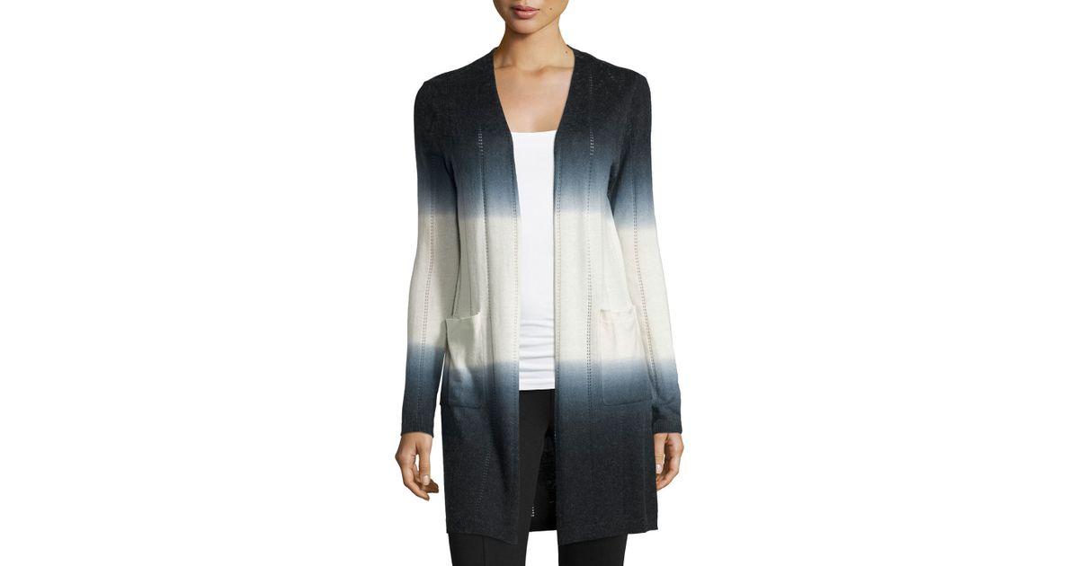 513ace93168 Neiman Marcus - Black Cashmere-blend Open-front Ombre Cardigan - Lyst