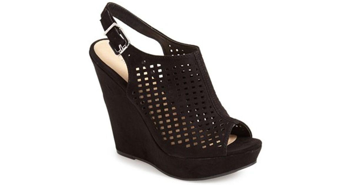 Lyst - Chinese Laundry  meet Up  Slingback Wedge Peep Toe Sandal in Black ed77d56645