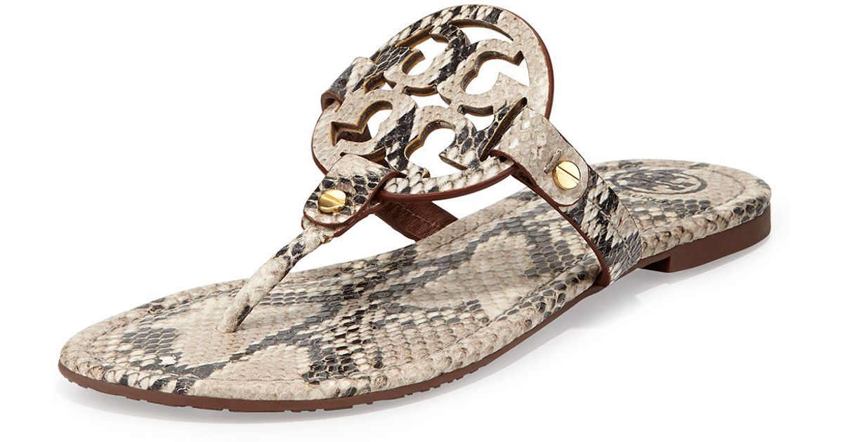 314ed29a46d Tory Burch Miller Lizardprint Leather Thong Sandals in Natural - Lyst