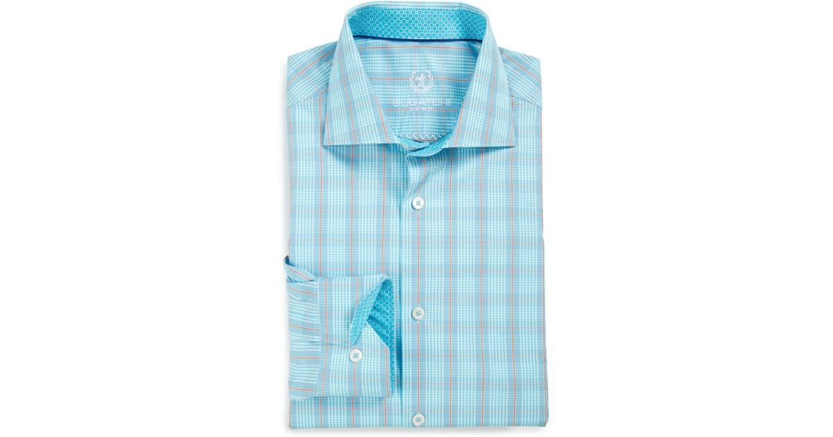 Bugatchi Shaped Fit Plaid Dress Shirt In Blue For Men Lyst