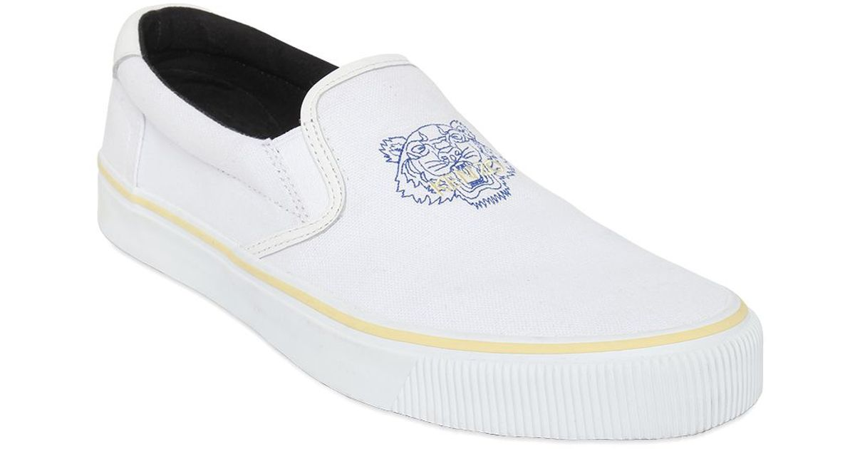 kenzo tiger cotton canvas slip on sneakers in white for