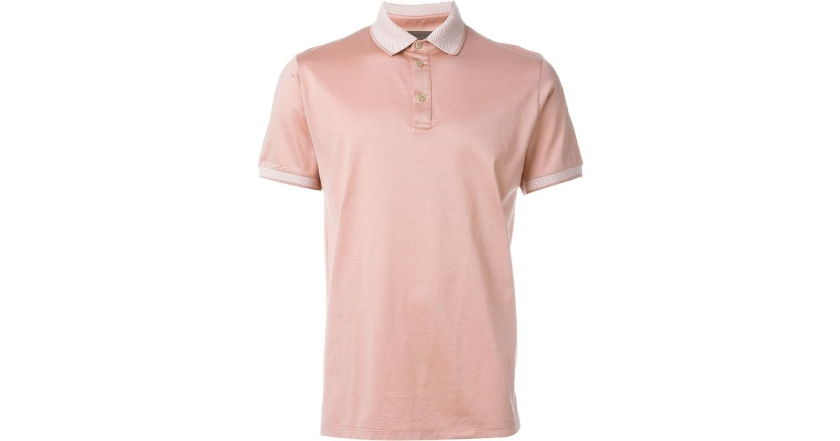 Etro Contrast Collar Polo Shirt In Pink For Men Lyst