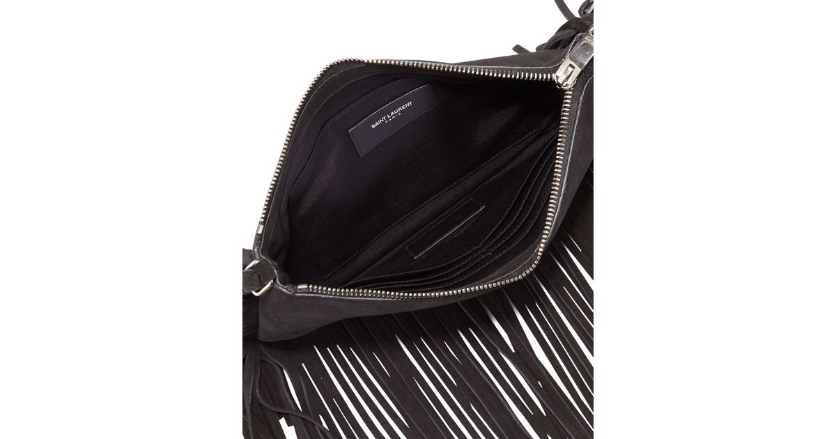 Lyst - Saint Laurent Monogram Fringed-Suede Cross-Body Bag in Black 1ba44dfe9ee7a