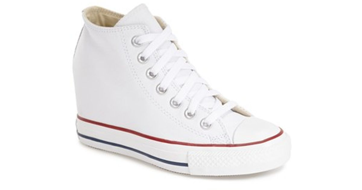 d1faf9bae601 ... reduced lyst converse chuck taylor all star lux hidden wedge high top  sneaker in white 3572d
