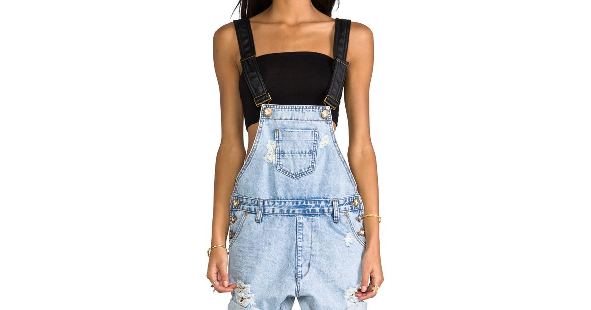 c2d0f6f033cc Lyst - One Teaspoon Super Freak Overalls in Blue in Blue