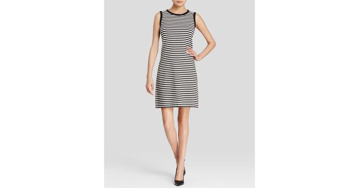69c576a2e08 Lyst - Kate Spade Cutout Back Stripe Shift in Black