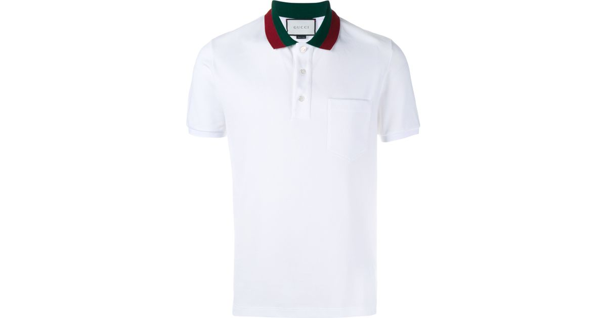 368906f752c Lyst - Gucci Striped Collar Polo T-shirt in White for Men