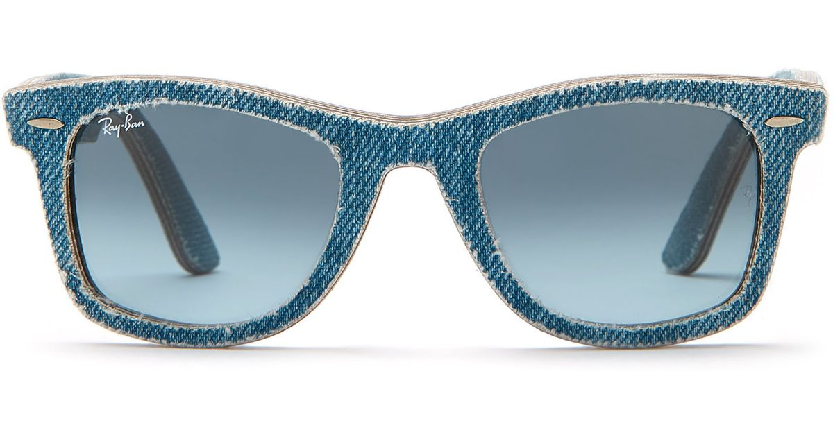 f883c944b9 ... best lyst ray ban rb2140 denim wayfarer sunglasses in blue 82351 1bee9