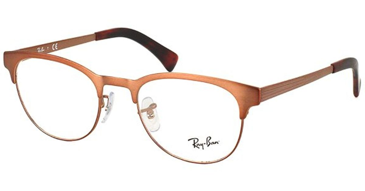 ce03fc1d8bf Ray-Ban Rx 6317 2836 Matte Brown Clubmaster Metal Eyeglasses-51mm in Brown  - Lyst