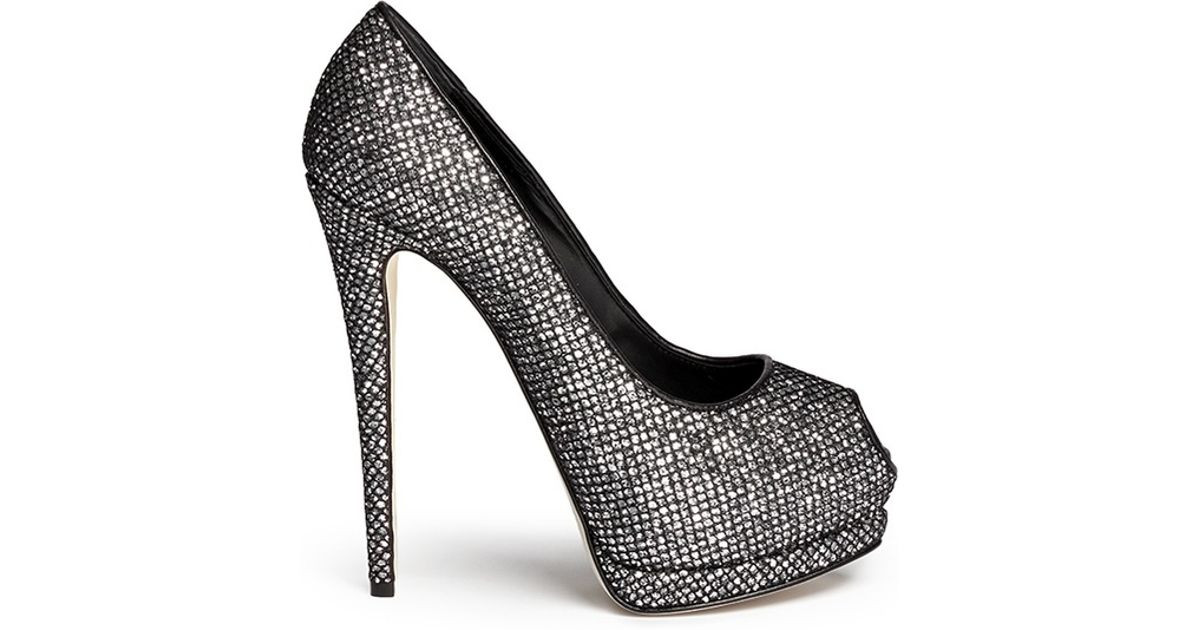 7f47efc4b71 new zealand lyst giuseppe zanotti sharon glitter mesh platform pumps in  gray 45a3b 7f9e4