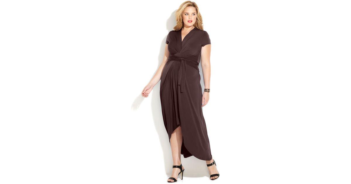 96683a6387 Michael Kors Michael Plus Size Fauxwrap Maxi Dress in Brown - Lyst