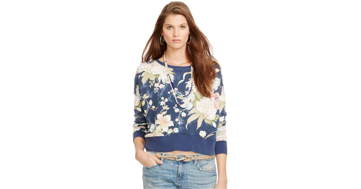 2c8435696fbda Lyst - Polo Ralph Lauren Floral-Print Crew-Neck Sweatshirt in Blue