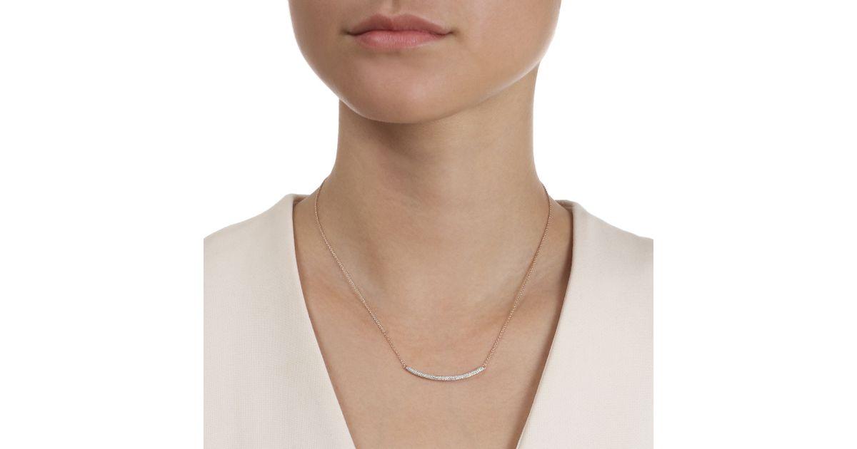 Rose Gold Skinny Curve Necklace Blue Diamond Monica Vinader