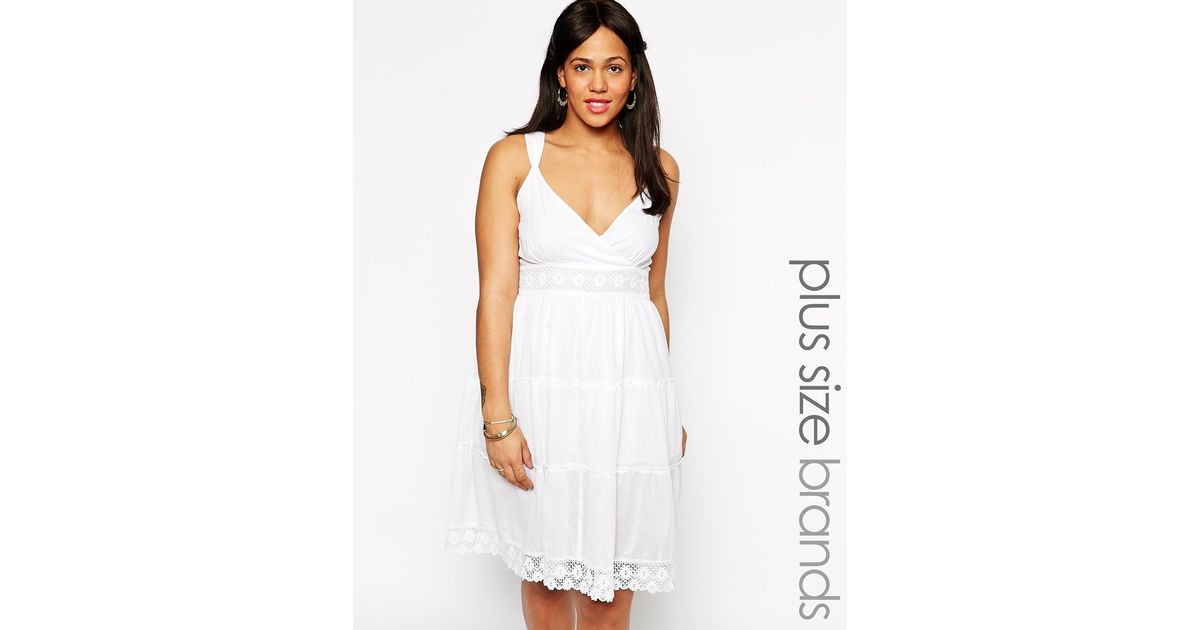 Diya Plus Size White Crochet Dress In White Lyst