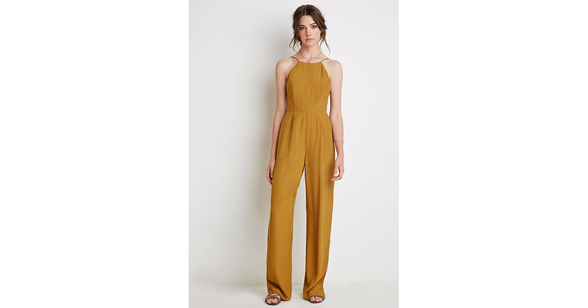 Forever 21 Low Back Halter Jumpsuit In Yellow Lyst