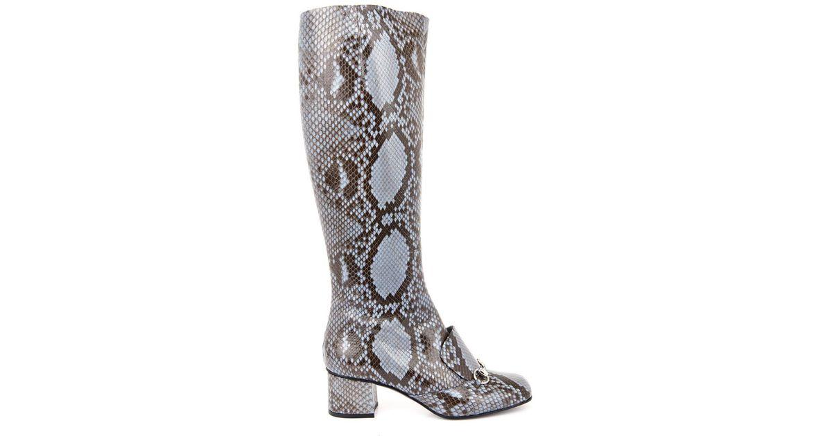 49d8ba89f2281f Lyst - Gucci Lillian Horsebit Python Boots in Blue