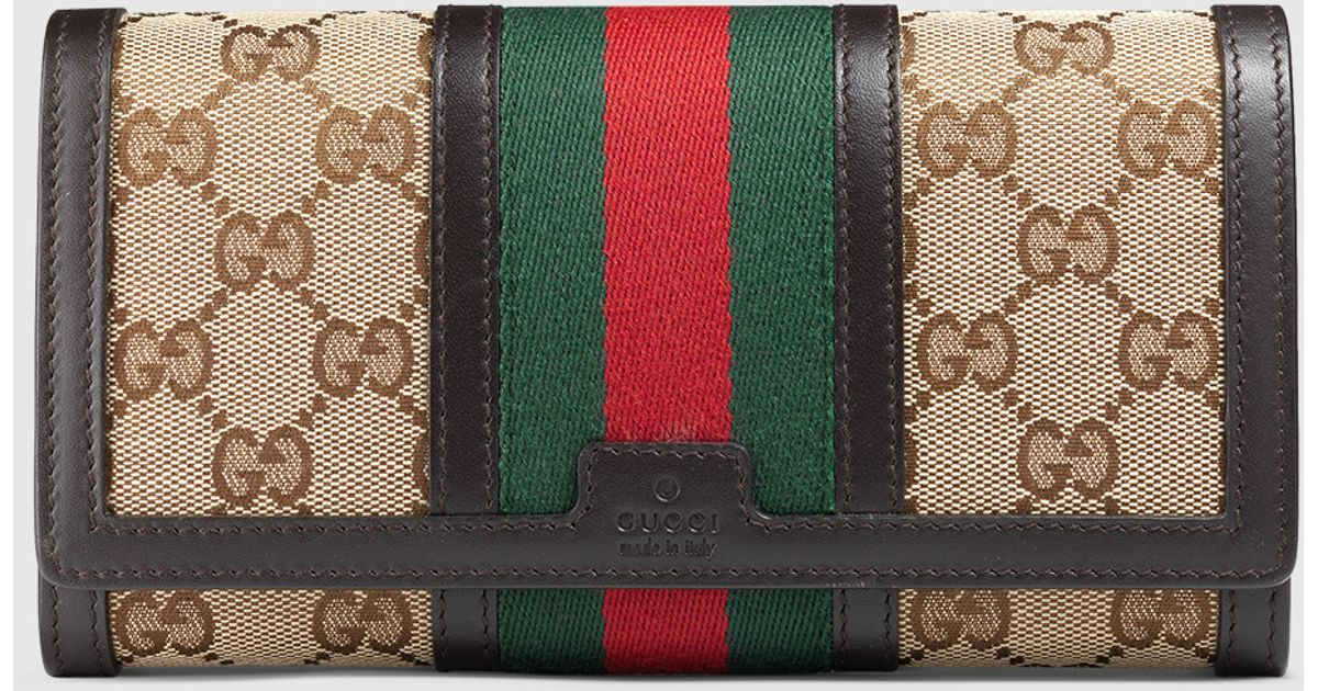 e291779b00097e Gucci Vintage Web Gg Canvas Wallet in Natural - Lyst