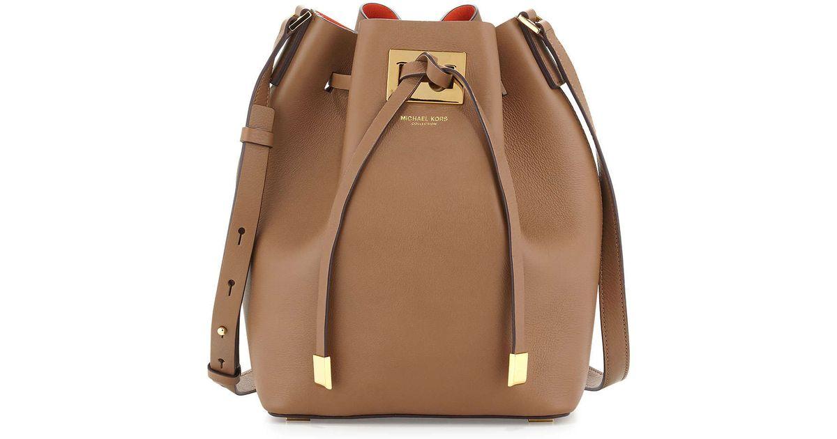 e706167aaf38 Lyst - Michael Kors Miranda Medium Bucket Bag in Brown
